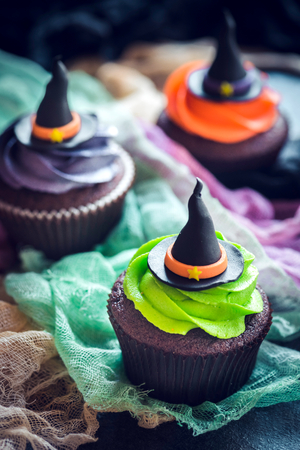 Witch hat cupcakes,selective focus and halloween concept