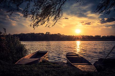 Beautiful sunset ove the lake Stock Photo