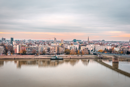 Panoramic city view of Novi Sad with buildings in background