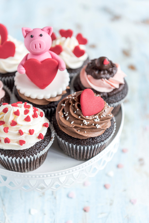 Cupcakes with love concept served,selective focus