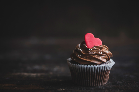 Heart on the top of cupcake,selective focus and valentines day concept