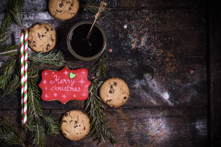 Cookies on the Christmas decoration with blank space,selective focus
