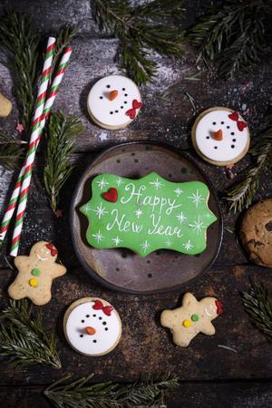 Happy New Year gingerbread cookies,selective focus Zdjęcie Seryjne