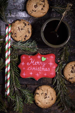 Merry Christmas cookies on the wooden table,selective focus