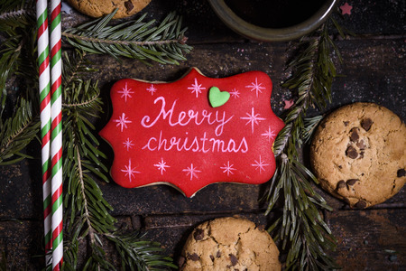Merry Christmas cookie on the wooden background,selective focus