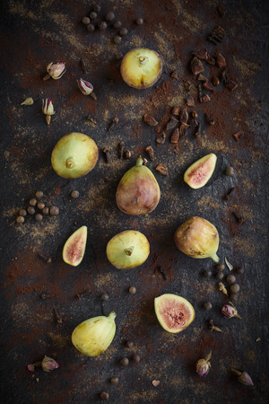 Group of raw figs served,seelctive focus