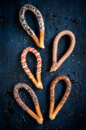 Traditional Spanish snack churros with toppings