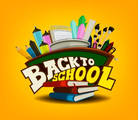 illustrates: Back to School Theme with School Supplies at the Back. Stock Photo