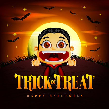 Halloween Trick or Treat Background and Funny Dracula Character in the Midnight with Flying Bats. Vector Illustration