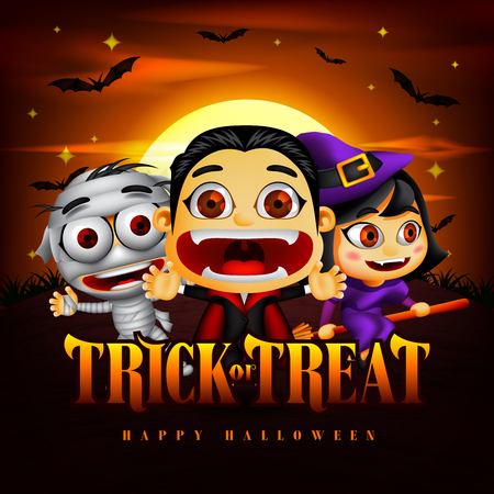 Halloween Trick or Treat Background with Funny Dracula, Mummy and Witch Character in the Midnight Illustration. Vector Illustration