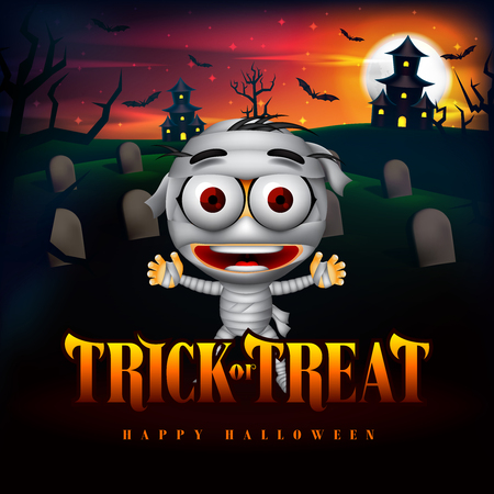 Halloween Trick or Treat Background and Funny Mummy Character in the Cemetery with Haunted House Illustration. Vector