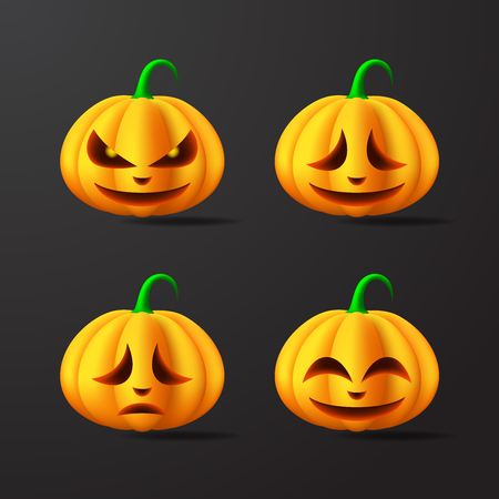 Halloween Pumpkins with different facial expressions Illustration. Vector