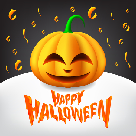 Happy Halloween Text with Happy Pumpkins in a minimalist Illustration. Vector