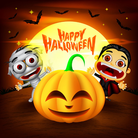 Halloween Background with funny characters. Dracula, Mummy and Pumpkins Illustration. Vector Illustration