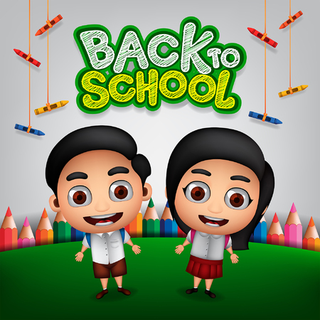 Back to School with Students Background and School Supplies Illustration. Vector