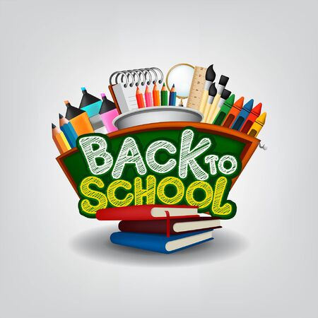 Back to School Background together with many School Supplies Vector.  Illustration Stock Illustratie