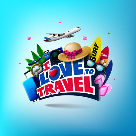 Travel Background Template plus I Love to Travel Text along with Traveler Accessories and Elements. Vector Illustration Vettoriali