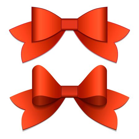 ribbons and bows: Two red bows with red ribbons, view from top Illustration