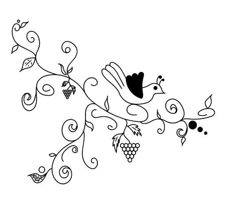 black branch: Black  doodle flower
