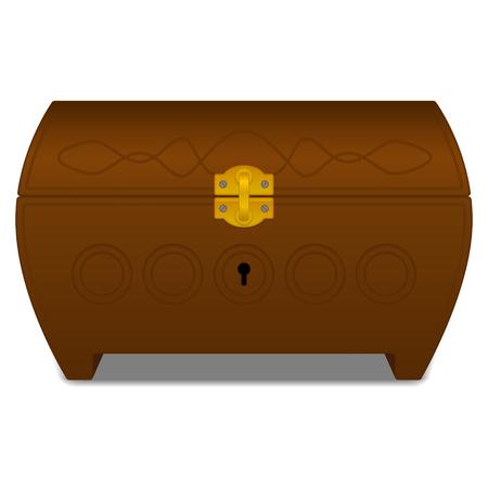 casket: Vector brown casket with gold lock Illustration