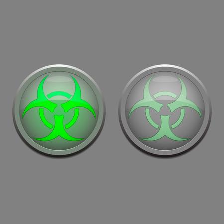 hazardous area sign: Two vector danger lights - biological danger