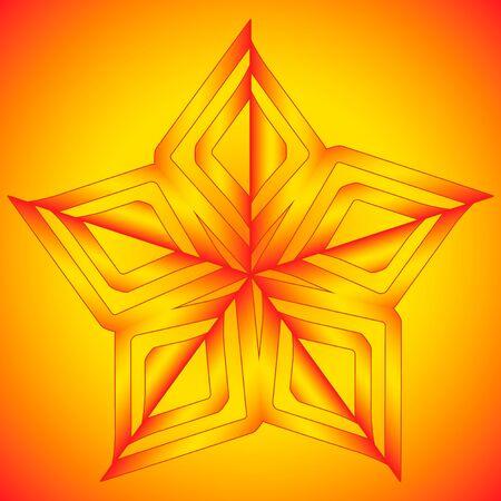star background: Vector orange star on orange background