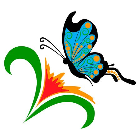 green butterfly: Vector doodle flower with butterfly