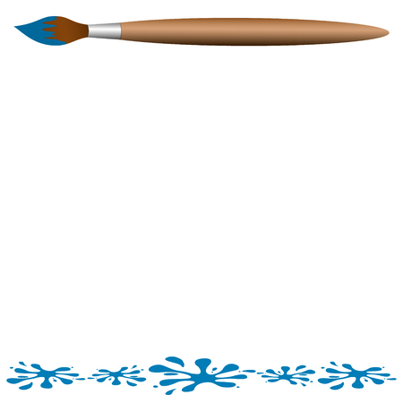 blobs: Wooden brush with blue blobs