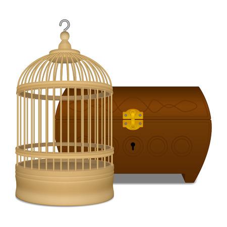 Wooden cage and casket Vektorové ilustrace