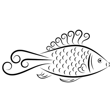 abstract fish: Doodle hand drawn abstract fish