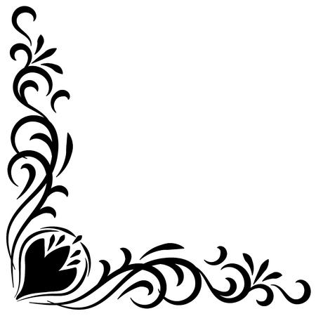 esquineros de flores: Marco abstracto del Doodle esquina de flores dibujado a mano negro Vectores