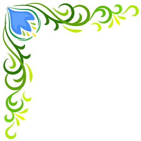esquineros de flores: Doodle del vector del color de la flor abstracta marco de la esquina