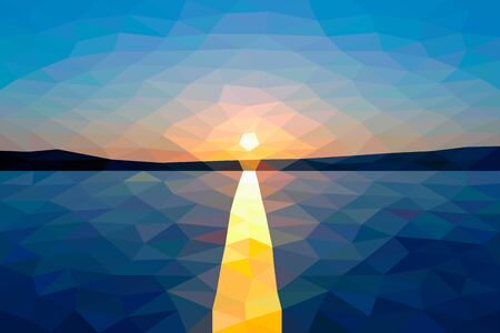 lake sunset: Low poly sunset on the winter lake Illustration