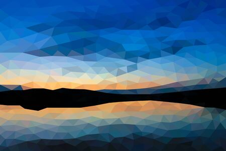 lake sunset: Low poly sunset on the lake Illustration