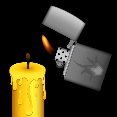 pyromania: burning metal lighter and candle on black background Illustration