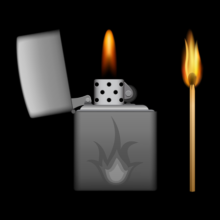 pyromania: burning metal lighter and match on black background