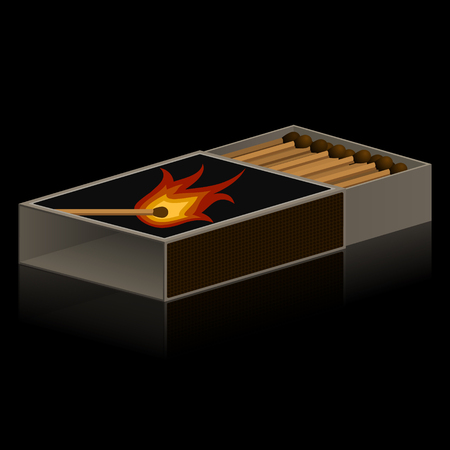 pyromania: pack of matches on black background
