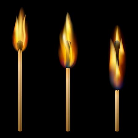 glow stick: burning three matches on black background