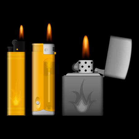 encendedores: la quema de tres encendedores en el fondo negro