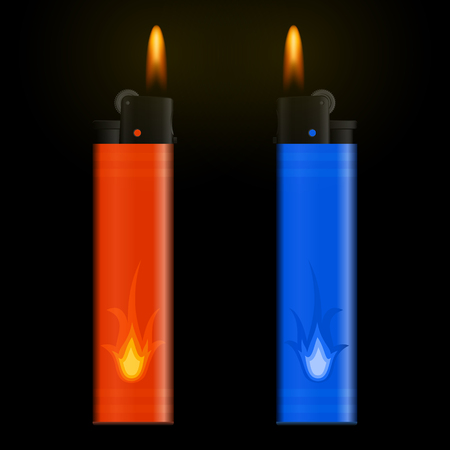 encendedores: burning two red and blue lighters on black background