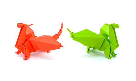 Photo Of Beautiful Origami Green And Red Dragons Isolated On Stock