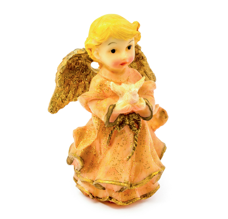 animal figurines: Photo of statuette of porcelain angel with pigeon isolated on white background