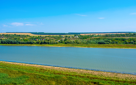 Photo of big beautiful river in Khotyn, view from beach 写真素材