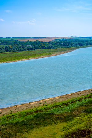 Photo of big beautiful river in Khotyn, view from beach Stock Photo