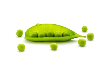 Photo of beautiful green peas isolated on white background