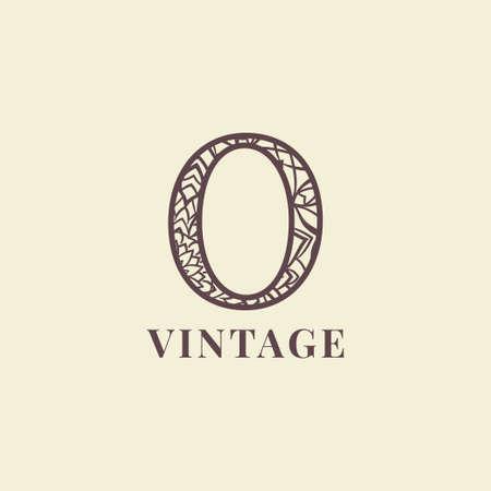 letter O vintage decoration logo vector design