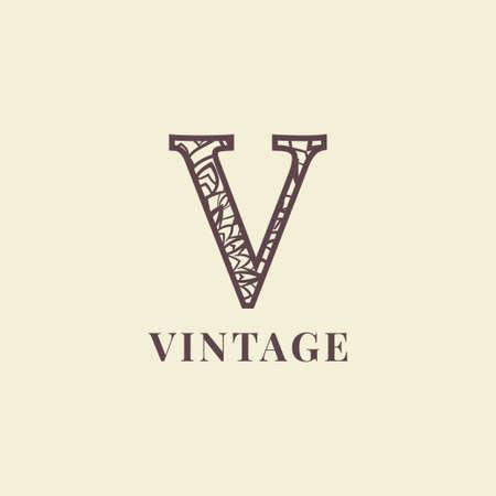 letter V vintage decoration logo vector design