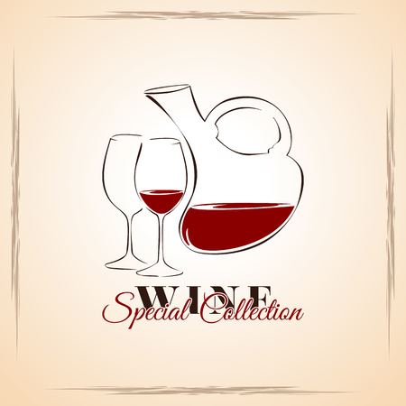 wine list: Wine - special collection, cover for wine list, template illustration