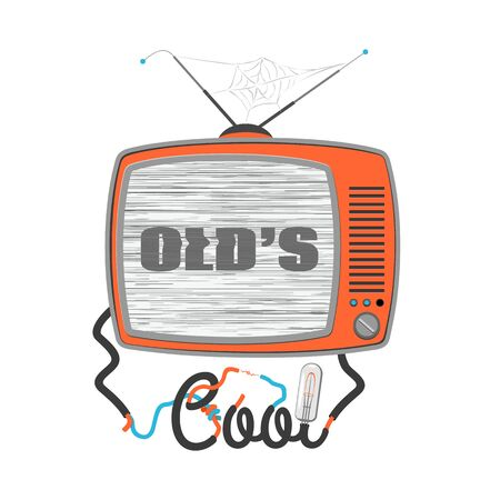 glitch: Olds cool - cartoon tv with glitch screen, vector illustration Illustration