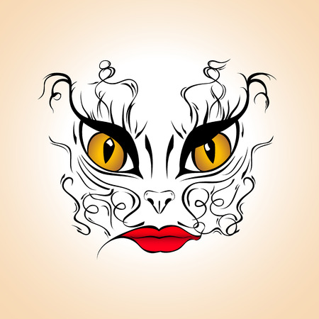 face painting: Woman cat - face painting illustration, tatoo template, vector